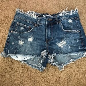 Pants - Zara jean shorts super cute worn look
